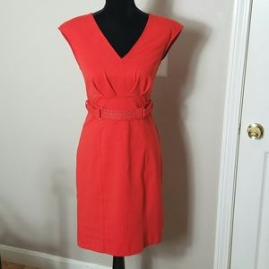 Jennifer Lopez Orange Sleeveless Dress Sz 8